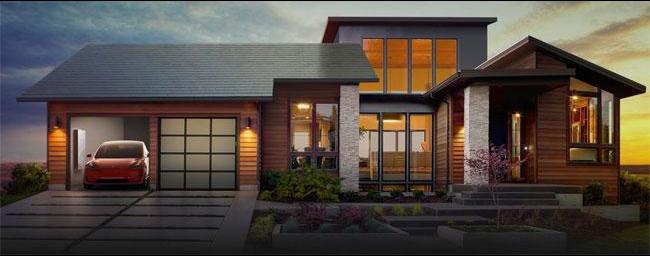 Casa Tesla com telhado de painéis de energia solar, pacote de baterias residencial e carro elétrico